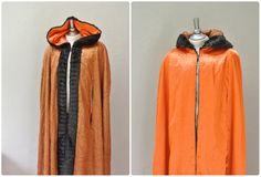fur hooded cape / satin copper faux fur hooded by FiregypsyVintage, $39.81