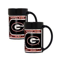 Georgia Bulldogs 2-Piece Ceramic Mug Set with Metallic Wrap, Black