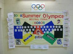 Olympic bulletin board display for the classroom.   For more Olympics craft and teaching resources, see - http://pinterest.com/cleverclassroom/olympics-2012/