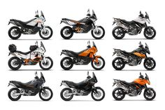 KTM 990 adventure (half white, white Baja edition, graphite grey, half orange) / KTM 990 Adventure R (black & white) / KTM 950 adventure (all black) / KTM 990 SMT (white & black, black & orange, orange & black)