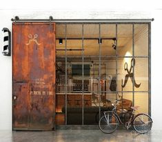 Cool Barber shop in industrial Loft design. Loft Design, Deco Design, House Design, Barber Shop Decor, Barbershop Design, Cafe Shop, Shop Fronts, Industrial House, Industrial Interiors