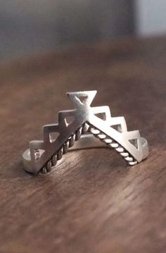 Aztec ring - ornate geometric tribal ring in sterling silver
