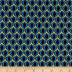 Peacock Feather Golden Eye Sky Blue Black with Metallic Gold Cotton Fabric from Rhapsody In Blue collection from Kanvas Studio for Benartex