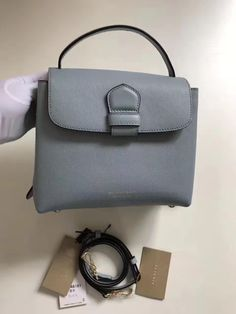 80166e1fd50f Burberry Small Grainy Leather and House Check Tote Bag Blue 2017 Burberry  Tote Bag