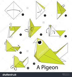 Step By Step Instructions How To Make Origami A Bird. Stock vektorkép 380406952 : Shutterstock Step By Step Instructions How To Make Origami A Bird. Origami Design, Origami Bird Easy, Easy Origami Animals, Instruções Origami, Origami Simple, Origami Yoda, Origami And Kirigami, Origami Dragon, Origami Fish