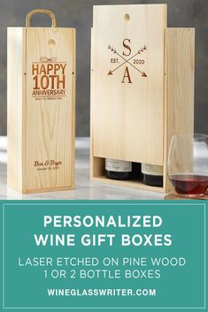 Make an impression when attending a dinner or surprising friends with these custom etched pine wood wine boxes and carriers. They are ideal for wine gift giving during the holidays or for a special occasion. #giftboxes #winegifts #holidaygifts #personalizedgifts #gifts #pinebox #winebox Wine Gift Boxes, Wine Gifts, Bottle Box, Happy A, Aged To Perfection, Personalized Wine, Wood Boxes, Holiday Gifts, Special Occasion