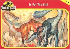 Jurassic Park trading cards with artwork by Lou Specker were included with Kenner's die cast dinosaur figures released alongside the first movie. Jurassic Park Trilogy, Jurassic Park Toys, Jurassic Park 1993, Jurassic World Characters, Jurassic World Fallen Kingdom, Jurrassic Park, Falling Kingdoms, Dinosaur Art, Prehistoric Creatures