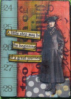 ATC Altered Playing Card I made while taking Mary Jane Chadbournes of Artful… Mixed Media Journal, Mixed Media Cards, Mixed Media Collage, Art Journal Pages, Art Journals, Junk Journal, Altered Books, Altered Art, Altered Tins