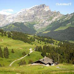 Vista do Village Villar Sur Ollon, nos Alpes Suiços. Lindo demais! #villars Nice View, Places Ive Been, Skiing, Landscapes, Mountains, Travel, Beautiful, Swiss Alps, Dreams