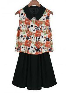 Two Piece Pattern Turndown Collar Print Chiffon Dress