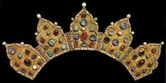 """Crown (graced the Oklad of the """"Mother of God Bogoljubskaja"""" icon). Moscow, end of the 14th, start of the 15th century.Gold, beaten and granulated. Filigree, sapphire, almandine, tourmaline, emeralds, turquoise and pearls"""