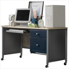 Hillsdale Universal Youth Student Desk in Silver and Navy - 1178-790 - Lowest price online on all Hillsdale Universal Youth Student Desk in Silver and Navy - 1178-790