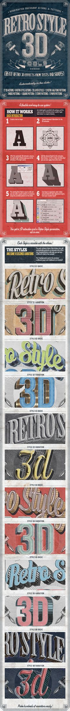 Retro Style 3D Tools - Photoshop Actions by Nuwan Panditha, via Behance