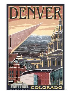 Denver, Colorado - Skyline View in Snow Posters by Lantern Press - at AllPosters.com.au
