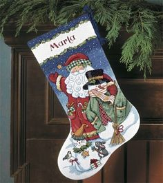 Craft for next year... Santa & Snowman Stocking Counted Cross Stitch Kit, , hi-res