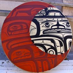 """Transference 24"""" Drum  Acrylic Paint, Elk Skin, Wood  Private Collection Alberta, Canada  October 2012"""