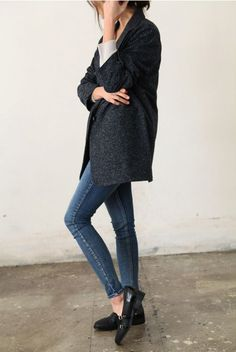grey wool blazer, sweater, skinnies, + loafers