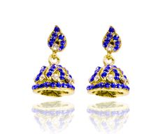 NEW BRIDAL WEDDING INDIAN TRADITIONAL ERRING BLUE COLOR JHUMKA GOLD JEWELRY  #reemajewels #DropDangle