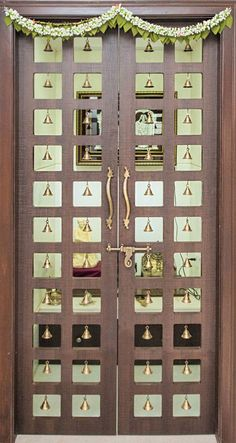 Pooja Room Door Designs That Beautify Your Mandir Entrance Pooja Room Door Design, Bedroom Door Design, Bedroom Cupboard Designs, Door Design Interior, Room Interior, Temple Room, Temple Design For Home, Mandir Design, Pooja Mandir