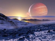 Photographic Print: Jupiter From Europa, Artwork by Detlev Van Ravenswaay : Astrology For The Soul, Alien Facts, Galactic Center, Planetary System, Alien Planet, Alien Worlds, Science Photos, Fantasy Landscape, Fantasy Art