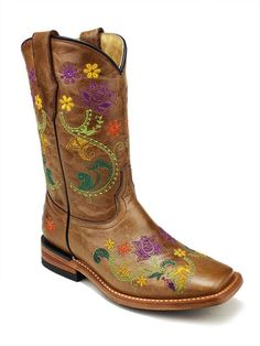 CORRAL Kids Red Floral Full Stitch Square Toe Cowboy Boots G1095