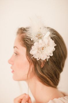 Perfectly Vintage - Adjustable Feathered and Vintage Flower Headband