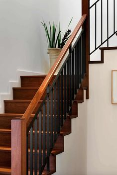 Staircase Railings Wood And Metal Stair Railing Balustrade Staircase Ideas Handrail Banister Stairway Railing Simple Stair Railings Modern Stair Railing, Stair Railing Design, Iron Stair Railing, Staircase Railings, Modern Stairs, Staircase Ideas, Banisters, Open Staircase, Handrail Ideas