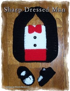 Sharp Dressed Man bib and bootie pattern to by creeksendinc, $2.99