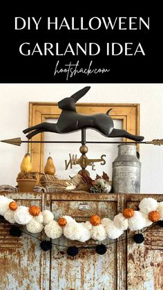 This contains: DIY Halloween garland idea using a DIY Halloween pom pom garland and glitter pumpkins from Dollar Tree. Diy Halloween Garland, Cute Halloween Decorations, Easy Halloween Food, Halloween Mantel, Diy Halloween Decorations, Easy Craft Projects, Easy Diy Crafts, Fun Crafts, Craft Projects For Adults