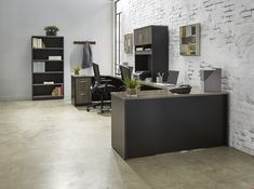 A neutral modern office suite for the business executive or work from home professional. Exclusive to National Business Furniture. Grey Office, Office Suite, Office Desks, Home Office, Desk Styling, Corner Office, Office Inspo, Business Furniture