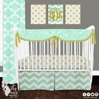 Mint Glitz Designer Created Crib Set. Custom crib rail cover or baby bumper, designer baby blanket, crib skirt, fitted crib sheet, window panels, wall art, changing pad cover and custom monogramming.
