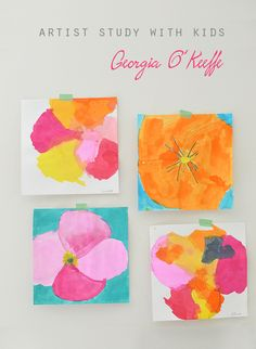 art for kids Artist study-painting flowers in the style of Georgia OKeefe. Links to other artist studies in the post. Art Lessons For Kids, Artists For Kids, Art Lessons Elementary, Projects For Kids, Art For Kids, Kids Study, Art Children, School Children, Spring Art Projects