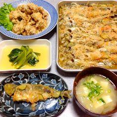 鯵の南蛮漬け、 鶏の唐揚げ、 小松菜のおひたし、 味噌汁 です。 - 18件のもぐもぐ - 揚げ物 晩ご飯 by orieueki