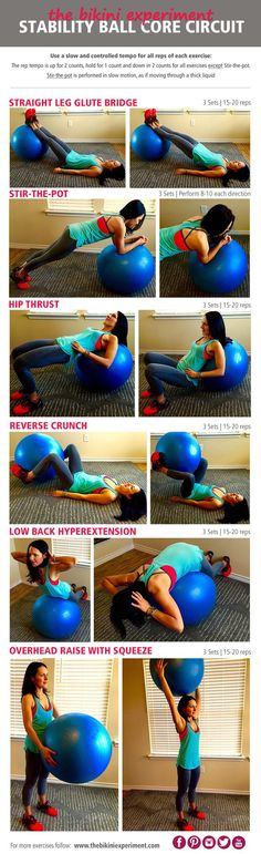 Get ready to work your core with these dynamic moves using the stability ball. This core stability ball circuit was designed as a workout for beginners. || The Bikini Experiment