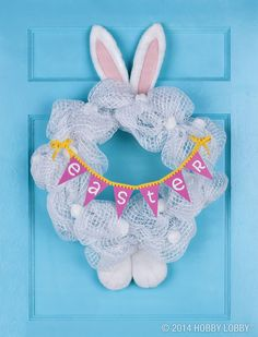 Have some hippity-hoppity fun with a bunny-style wreath.