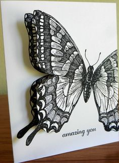 Stampin Up Swallowtail, Express Yourself. Ooowwh, I like the black and white. Papillon Butterfly, Big Butterfly, Butterfly Crafts, Butterfly Artwork, Cool Cards, Diy Cards, Stamping Up Cards, Card Making Inspiration, Pretty Cards