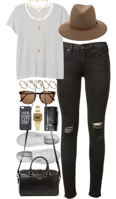 Outfit for shopping by ferned featuring t shirtsMonki t shirt, 17 AUD / Rag & bone skinny jeans, 310 AUD / Superga flat shoes, 89 AUD / Yves Saint Laurent leather purse, 1 910 AUD / Marc Jacobs leather wallet, 670 AUD / Ettika hamsa necklace, 78 AUD / Casio vintage watch, 71 AUD / ASOS stackable ring / Rag bone floppy hat, 250 AUD / Witchery round glasses / Iphone case, 8.98 AUD