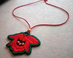 Hand-embroidered pendant, with flower folk motif (JEWEL-PENDANT-291)