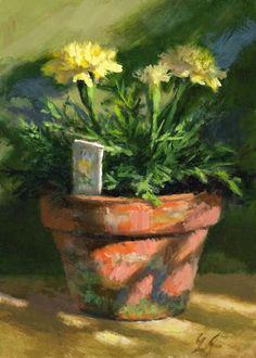 """Linda's Witness in Art: """"Marigolds in Morning Light"""" oil 5x7"""