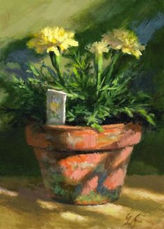 "Linda's Witness in Art: ""Marigolds in Morning Light"" oil 5x7"