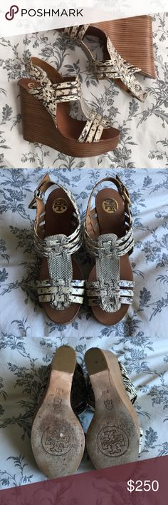 "Tory Burch 'Leslie' Wedges Super comfy and very chic. Perfect for spring and summer. These have been gently used and show minimal wear on the soles. Heel is 5"" with a 1"" platform. I no longer have the box. Open to offers! Tory Burch Shoes Wedges"