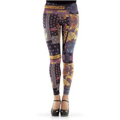 """Baroque Leggings Exclusive! Artwalkers. Renaissance swirls! Baroque flourishes! Reds, golds, and blues enrich the print of these shapely, stretchy leggings. Elasticized waist. Poly/rayon/spandex. Machine washable. Made in USA. Color: Earth-tone Multi. Sizes: XS (2-4), S (6-8), M (10-12), L (14-16), XL (18), 1X (18W-20W), 2X (22W-24W), 3X (26W-28W); 28"""" inseam (approx.), 35""""-37"""" outseam. $49.95"""