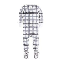 56dc1edd27 Baby Buffalo Check Organic Zip Front Footed Pajamas