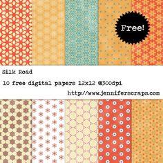 Silk Road - Free Digital Scrapbook Paper Pack