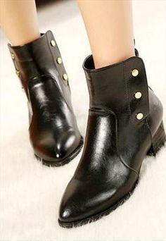 Vintage Pointed Toe Studded Black Ankle Boots