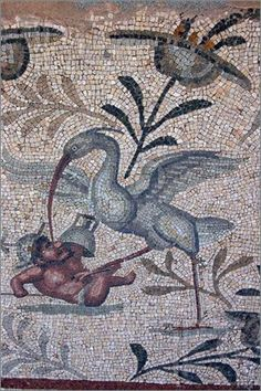 A beautifully detailed Roman mosaic of a wading bird attacking a gladiator  #mosaic #Roman