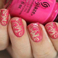 Pink stamping nail art