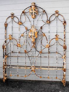 """Spanish/Gothic with beautiful religious """"cross"""" casting in the middle, circa 1860 Antique Iron Beds, Wrought Iron Beds, Shabby Chic Furniture, Rustic Furniture, Antique Furniture, Painted Iron Beds, Cast Iron Beds, Cast Iron Bed Frame, Iron Headboard"""