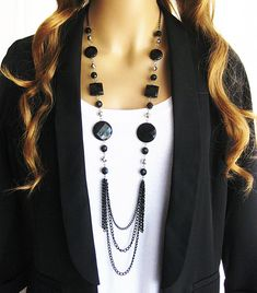 Long Black Beaded Necklace,  Multistrand Black Chain Necklace, Long Black Necklace, Bead Necklace, Long Necklace, Black and Silver Necklace by RalstonOriginals on Etsy