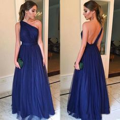 Cheap Royal Blue Evening Dresses Long 2020 robe de soiree One Shoulder Backless Prom Gowns A Line Handmade Formal Party Dress Backless Prom Dresses, A Line Prom Dresses, Tulle Prom Dress, Strapless Dress Formal, Long Dress Formal, Long Prom Gowns, Maxi Dresses, Party Dresses, Evening Party Gowns